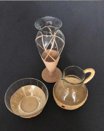 Milch- und Zucker- Set mit Vase Vintage Glas