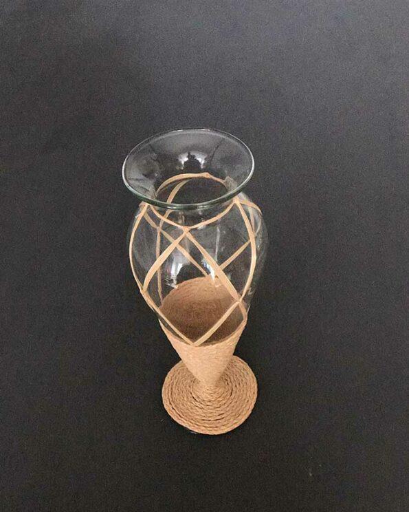 Vase Vintage Glas umflochten stehend