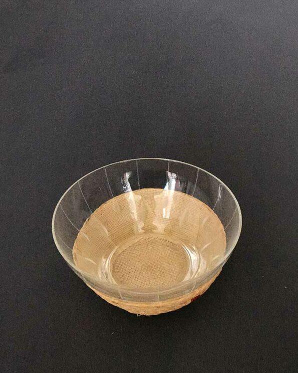 Zuckerschale Vintage Glas umflochten Ansicht oben
