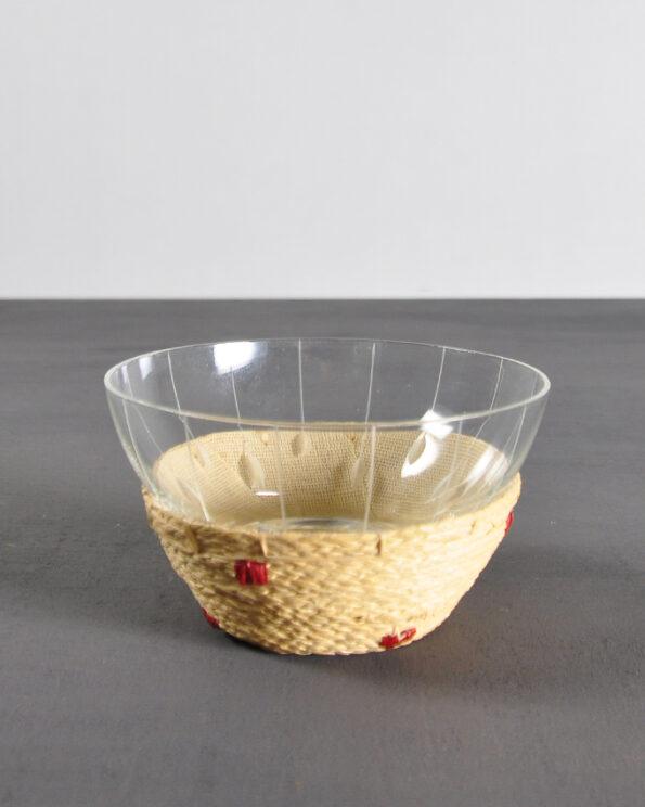 Zuckerschale Vintage Glas umflochten