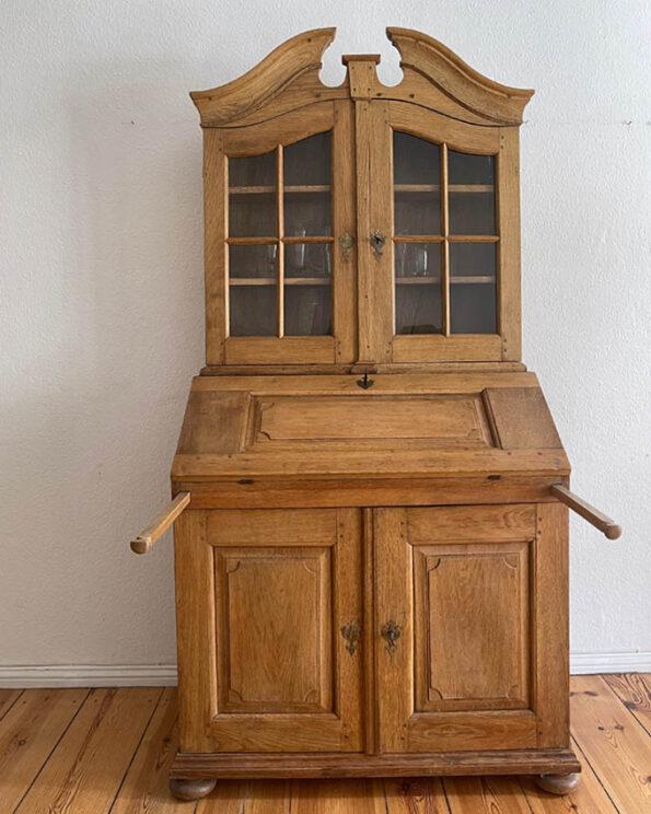 Antiker Aufsatz-Sekretär mit Glasvitrine ca. 1760 Eiche Auszüge für Schreibtisch